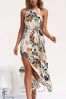 Crew Neck  Belt  Floral Printed  Sleeveless Maxi Dresses