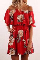 Off Shoulder  Belt  Floral Printed  Short Sleeve Casual Dresses