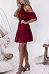Halter  Plain  Bell Sleeve  Short Sleeve Skater Dresses