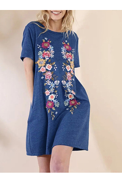 Printed Casual Round Neck Short Sleeve Dress