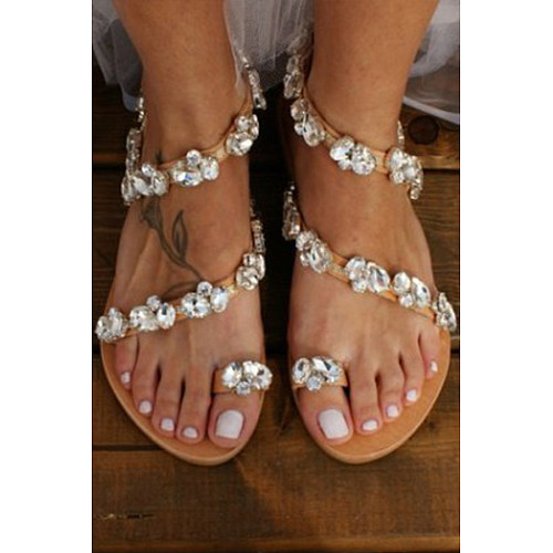 Plain  Flat  Peep Toe  Date Travel Wedding Flat Sandals
