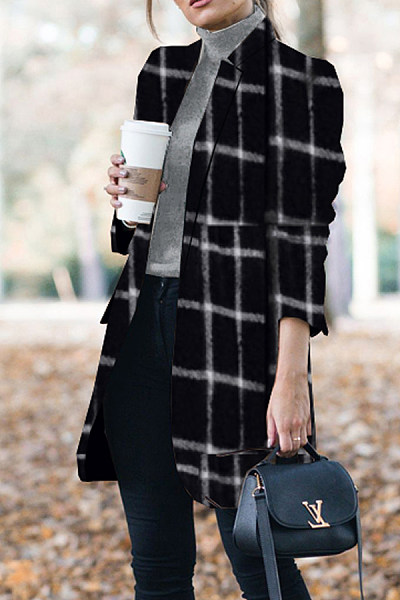 Band Collar  Plaid Outerwear