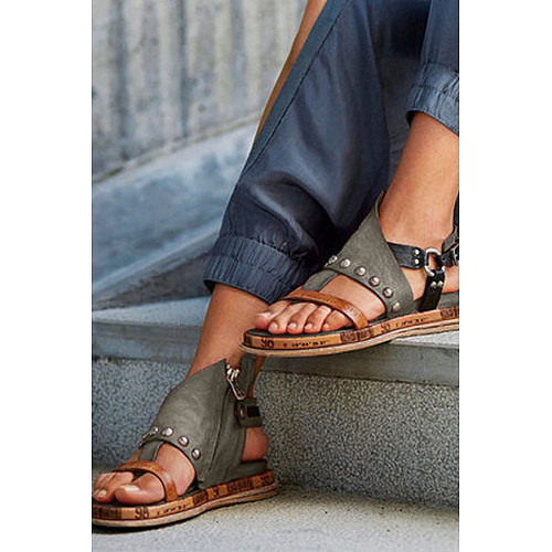 Peep Toe Casual Date Travel Flat Sandals