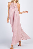 Crew Neck  Plain  Sleeveless Maxi Dresses