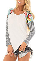 Casual Round Neck Floral Stitching Long Sleeve T-Shirt