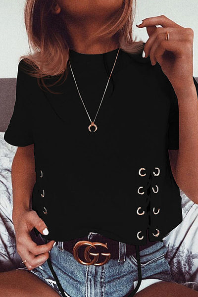 Fashion Round Neck Plain Lace Plain T-Shirts