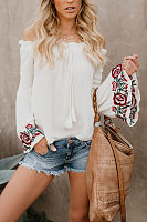 Off Shoulder  Embroidery  Bell Sleeve  Blouses