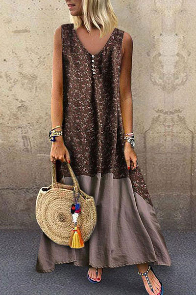 V Neck  Patchwork  Sleeveless Maxi Dresses