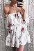 Off Shoulder  Belt  Floral Printed  Long Sleeve Skater Dresses