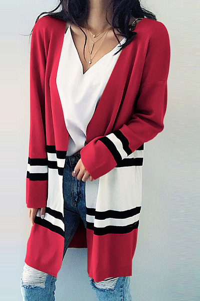 Polyester Casual  Autumn  Striped Cardigans