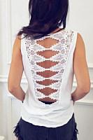 Spaghetti Strap  Cutout  Back Hole  Plain T-Shirts