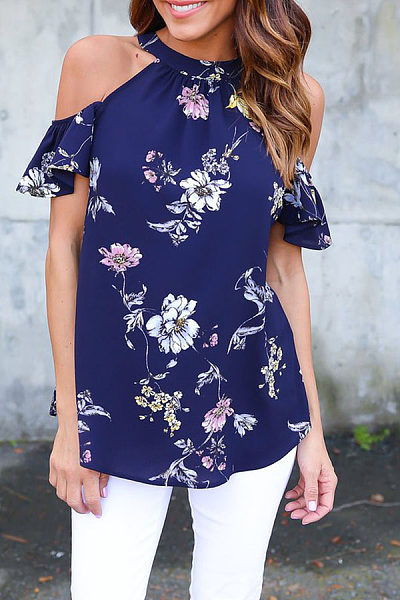 Round Neck  Bowknot Flounce  Floral Printed T-Shirts