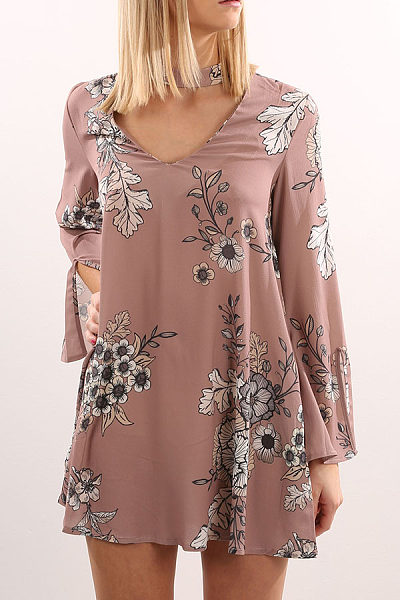 Halter  Cutout  Floral Printed Casual Dresses