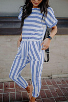 Crew Neck  Striped  Short Sleeve Jumpsuits