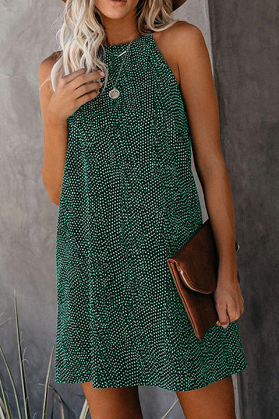 Round Neck  Printed Casual Dresses