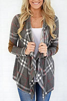 Collarless  Gingham Patchwork Cardigans