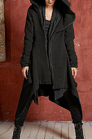 Hooded  Asymmetric Hem  Plain  Teddy  Outerwear