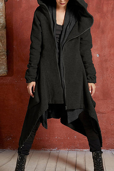 Hooded  Asymmetric Hem  Plain  Teddy  Outerwear
