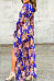 Deep V Neck  Asymmetric Hem  Printed  Long Sleeve Maxi Dresses