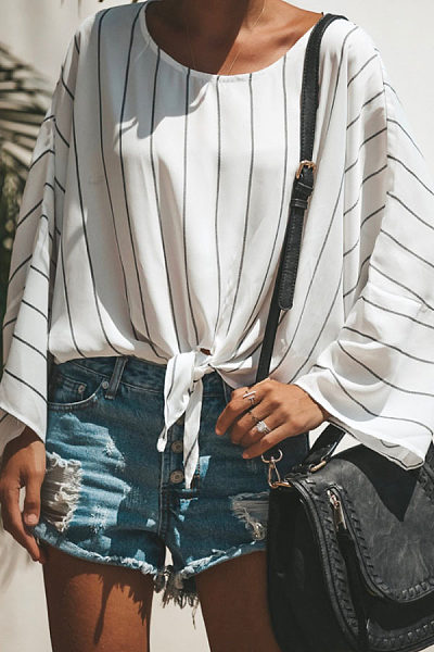 Round Neck  Striped  Batwing Sleeve  Blouses