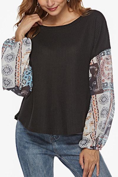 Round  Neck  Print  Sweaters