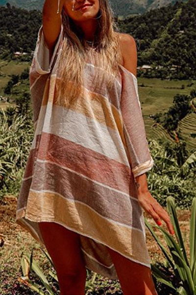 Casual Loose Single Shoulder Striped Dress