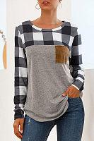 Casual Round Neck Plaid Stitching Long Sleeve Pocket T-Shirt