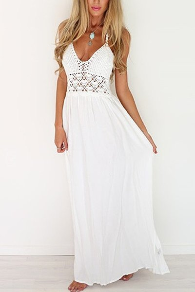 White Backless Halter Knitted Beach Dress