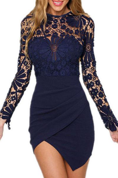 Asymmetric Hem  Plain  Long Sleeve Bodycon Dresses
