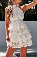 Round Neck  Plain  Sleeveless Skater Dresses