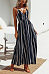 Spaghetti Strap  Backless High Slit  Striped  Sleeveless Maxi Dresses