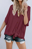 V Neck  Single Breasted  Plain  Batwing Sleeve T-Shirts