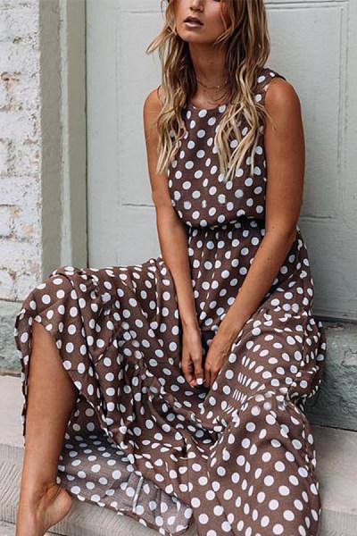 Wave Point Round Neck Sleeveless Maxi Dress