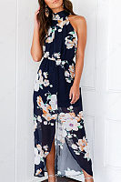 Halter  Asymmetric Hem  Floral Printed Maxi Dresses