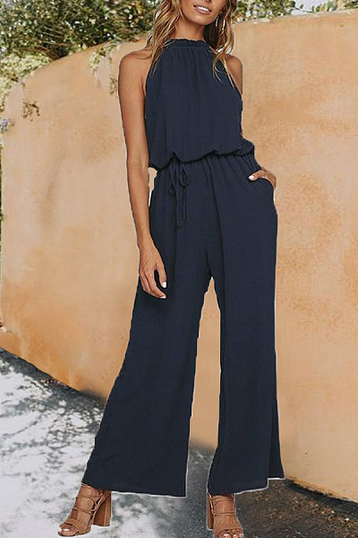 Women Plain  Drawstring Jumpsuits