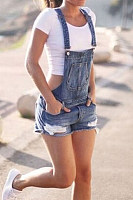 Decorative Buttons  Overall  Plain  Sleeveless  Denim Overalls