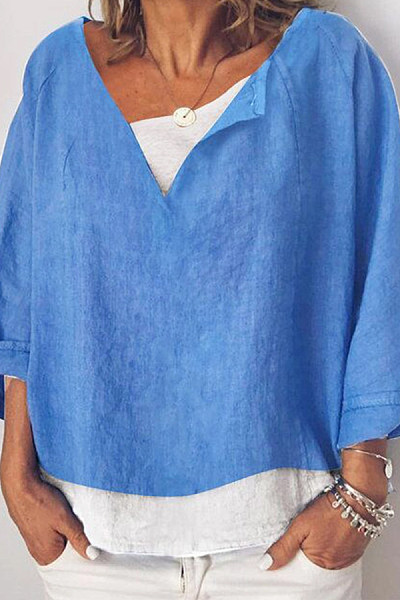 V Neck Loose Fitting Casual Shirts