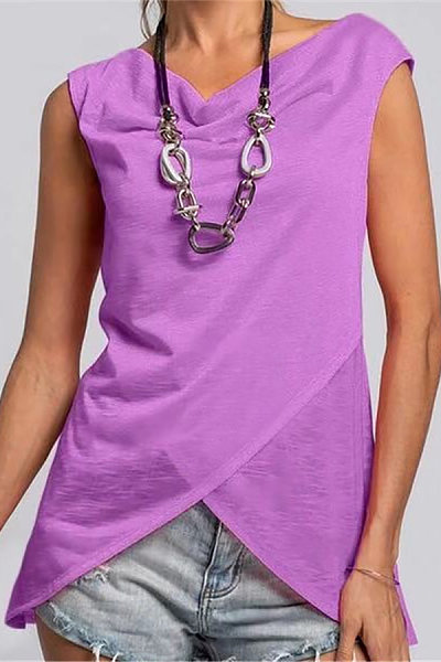 Casual Sleeveless Pure Color  Round Neck T-Shirt