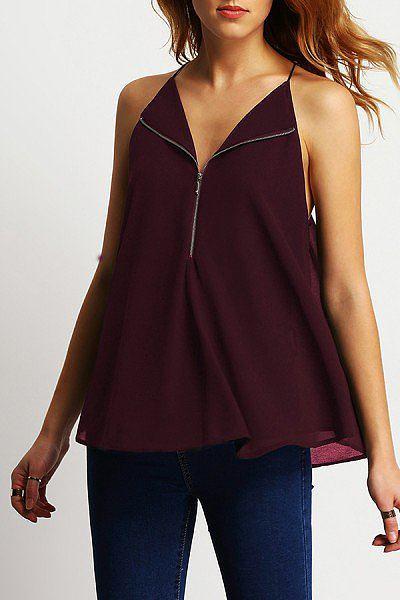 Spaghetti Strap V Neck  Backless Zipper  Plain T-Shirts
