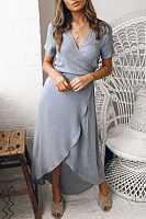 Surplice  Asymmetric Hem  Plain  Short Sleeve Maxi Dresses
