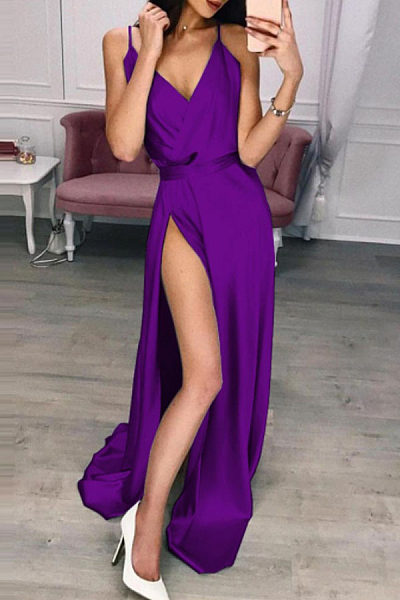 Spaghetti Strap  High Slit  Plain  Sleeveless Maxi Dresses