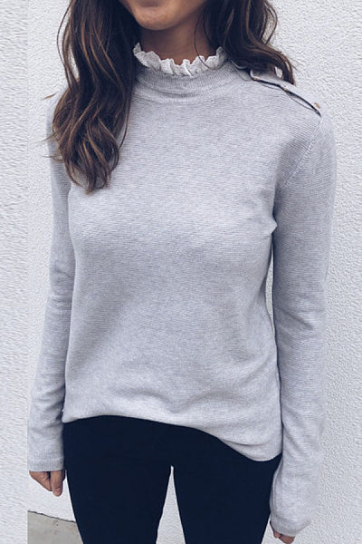 Lace Patchwork Long Sleeve Casual T-Shirts