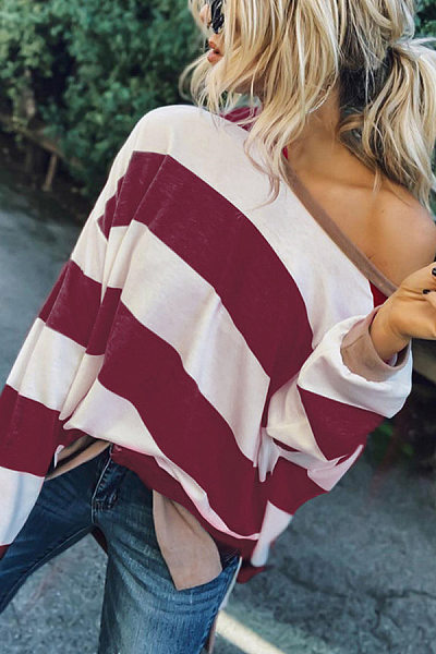 Casual Strapless Loose Striped Long Sleeve Sweatershirt