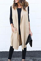 Fold Over Collar  Patchwork  Belt  Plain Trench Coat