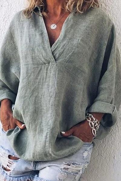 Spring Solid Long Sleeve V Neck Blouses