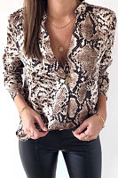 V Neck  Animal Printed  Blouses