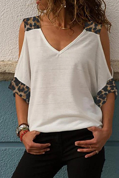 Casual Off-The-Shoulder Printed Patchwork T-Shirt