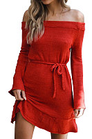 Off Shoulder  Belt Loops  Plain  Long Sleeve Bodycon Dresses