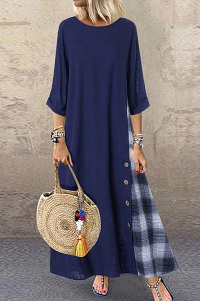 Casual Plaid Pure Colour Bracelet Sleeve Round Neck Dress