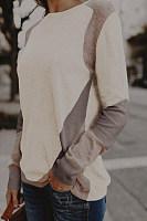 Casual Circular Collar Contrast Color Sweater